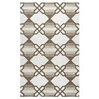Hand-tufted Caterine Khaki Wool Trellis Area Rug ( 2' x 3' ) - 2' x 3'