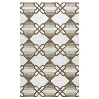 Hand-tufted Caterine Khaki Wool Trellis Area Rug ( 2' x 3' )