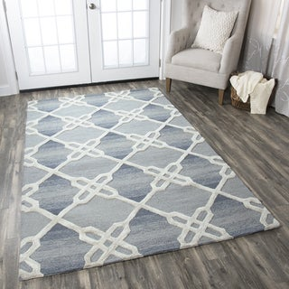 Hand-tufted Caterine Blue Wool Trellis Area Rug ( 2' x 3' )