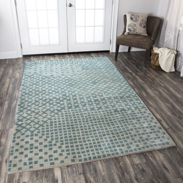 Shop Hand-tufted Pandora Teal Wool Print Area Rug ( 2' X 3