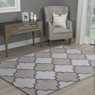 Hand-tufted Caterine Ivory Wool Trellis Area Rug ( 2' x 3' )
