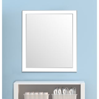 Framed Wall Mirror- White/Silver for Bathroom or Vanity - White