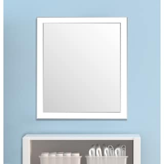 Framed Wall Mirror- White/Silver for Bathroom or Vanity