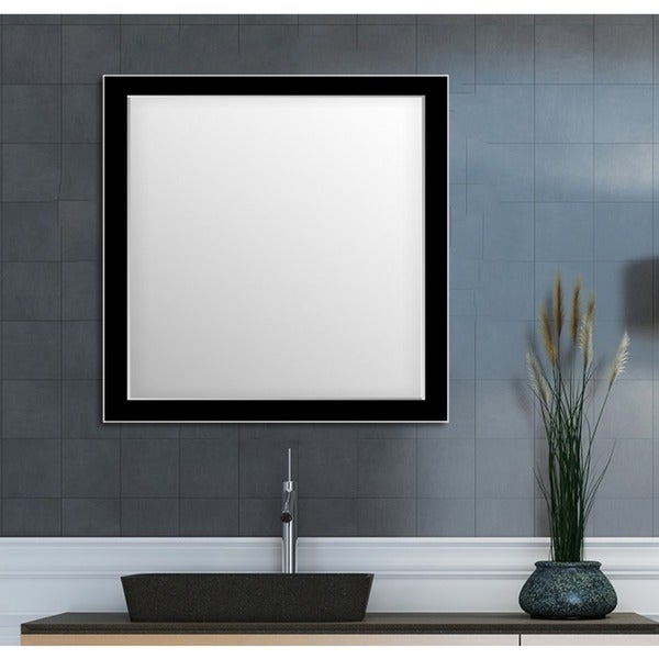 Shop framed wall mirror black silver for bathroom or vanity black free shipping today for Silver framed bathroom mirrors