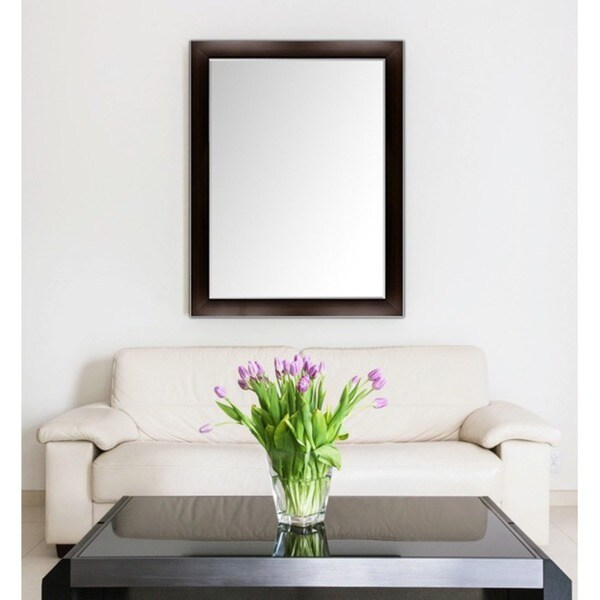 Shop Custom-Sized Framed Mirror- Espresso/Silver Framed Bathroom ...