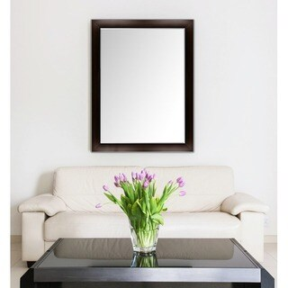 Custom-Sized Framed Wall Mirror- Espresso/Silver for Bathroom, Vanity, Livingroom