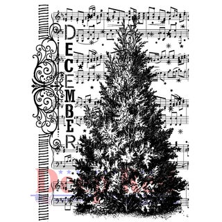 Deep Red Cling Stamp 2X3-December Tree