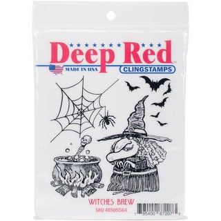 Deep Red Cling Stamp 3X3-Witches Brew