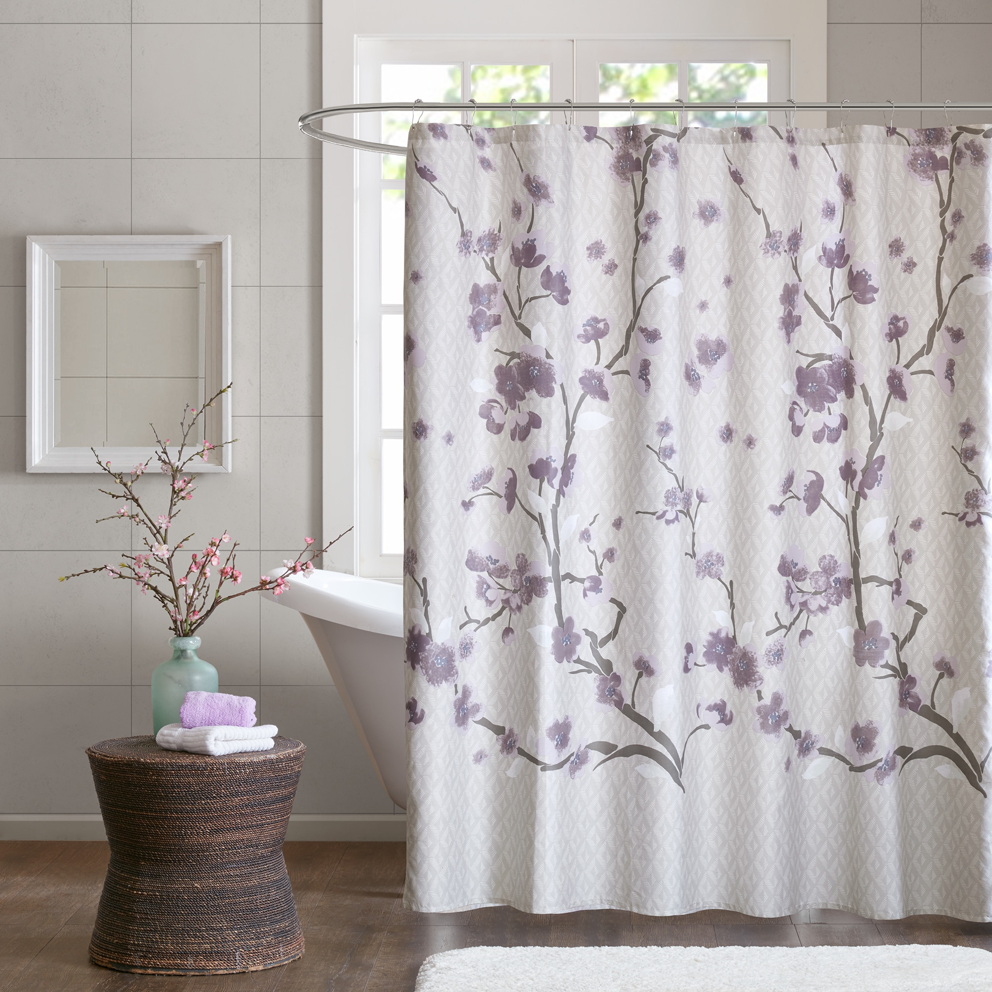 shop madison park isabella cotton printed purple shower curtain free shipping on orders over. Black Bedroom Furniture Sets. Home Design Ideas