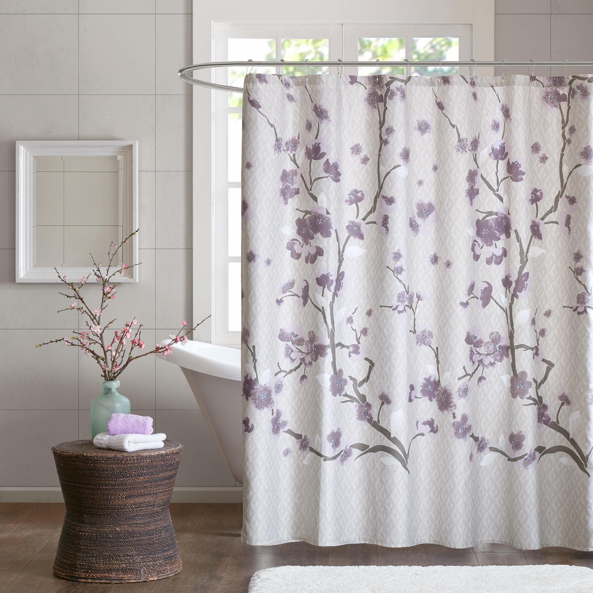 Madison Park Isabella Cotton Printed Purple Shower Curtain