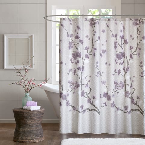 The Gray Barn Mission Creek Cotton Printed Purple Shower Curtain