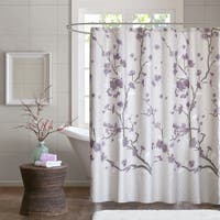 Madison Park Isabella Cotton Printed Purple Shower Curtain