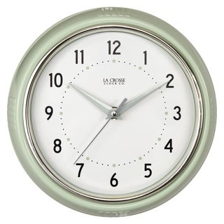 La Crosse Pistachio Green 9.5-inch Round Retro Diner Analog Wall Clock