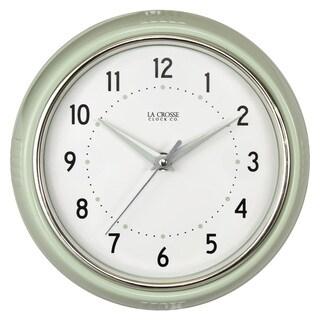 La Crosse Pistachio Green 9.5-inch Round Retro Diner Analog Wall Clock