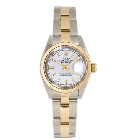 Pre-owned Rolex Ladies 26MM Datejust Stainless Steel & 18K Gold Oyster Braclet, Gold Fluted Bezel & A White Index Dial
