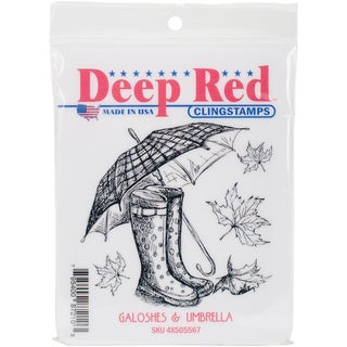 Deep Red Cling Stamp 3X3-Galoshes & Umbrella