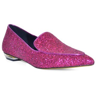 Lonia Women's Izzy Pink Leather Sparkle Flats