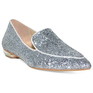 Lonia Women's Lettice Silver-tone Leather Sparkle Flats