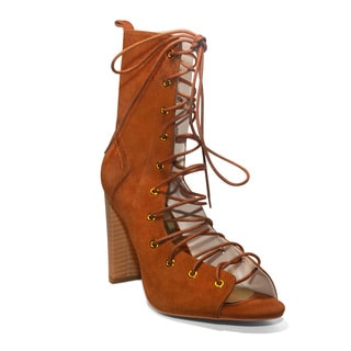 Lonia Shoes Ayana Lace-up Brown Suede Booties