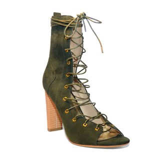 Lonia Shoes Women's Tawny Green Suede Lace Up Booties