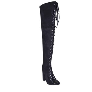 Lonia Shoes Women's Vivian Black Suede Over-the-knee Lace Up Boot