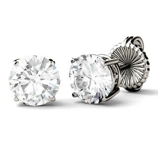 Charles & Colvard 14k White Gold 3 7/8ct DEW Round Forever One Colorless Moissanite Stud Earrings