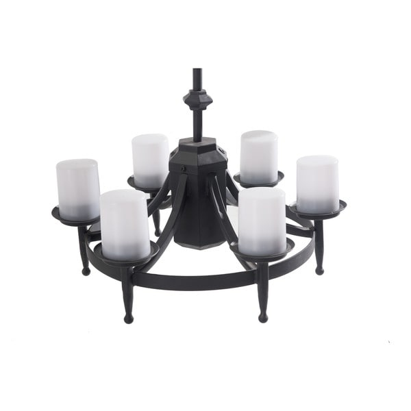 Sunjoy ludington battery powered 6 light led black steel chandelier with remote
