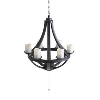 Sunjoy Francis Black LED 6-Light Chandelier with Remote
