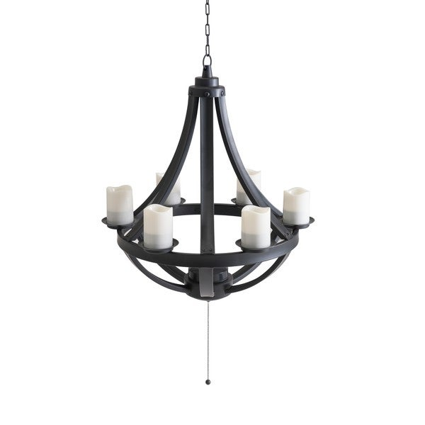 Sunjoy francis black led 6 light chandelier with remote