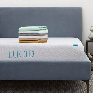 LUCID 10-inch Full-size Gel Memory Foam Mattress with Tencel Sheet Set