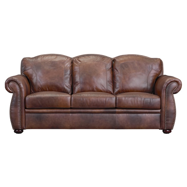 Shop Phoenix Marco Brown Leather Sofa - Free Shipping Today ...