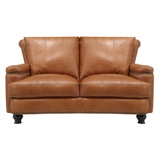 Nolan Brown Leather Loveseat