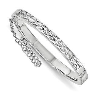 Versil Sterling Silver Children's Rhodium-plated Diamond-cut Safety Hinged Bangle