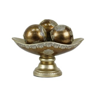 D'Lusso Designs Angelique Collection Gold and Brown Polyresin Bowl with Three Orbs 4-piece Set