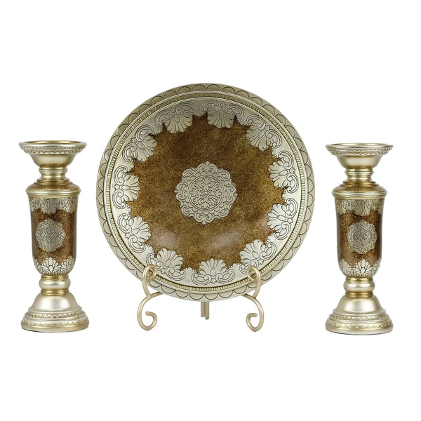 807f8c10e5 Shop D'Lusso Designs Angelique Collection Charger, Stand, and Two  Candlesticks Four-piece Set - Free Shipping Today - Overstock - 14415283