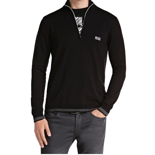 3122c1e97 Shop Hugo Boss Zime Black Cotton Quarter Zip Sweater - Free Shipping Today  - Overstock - 14415339