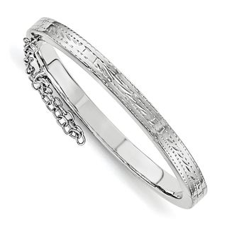 Versil Sterling Silver Children's Rhodium-plated Textured Safety Hinged Bangle