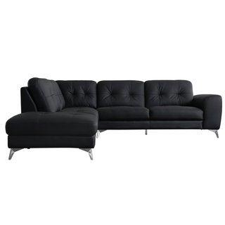 Quinn Leather Sectional Left Black