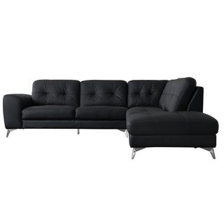 Quinn Leather Sectional Right Black