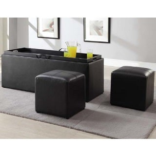 Gunner Dark Brown Faux Leather Storage Bench with Two Ottomans
