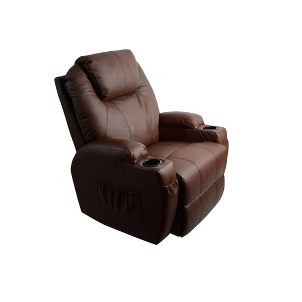 MCombo Brown Massage Recliner Vibrating Sofa Heated Leather
