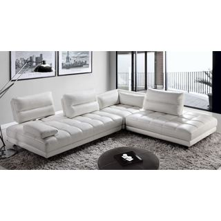 Teva Contemporary Adjustable White Top Grain Leather Sectional Sofa