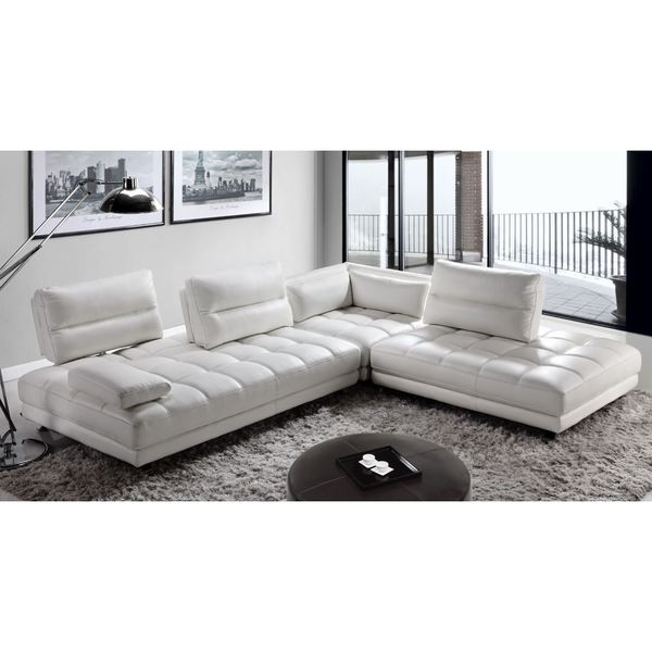 Enfield Modern White Leather Sofa: Shop Teva Contemporary Adjustable White Top Grain Leather
