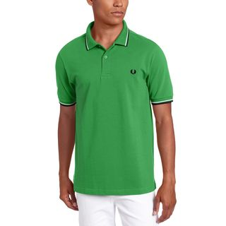 Fred Perry Men's Green Cotton Twin Tipped Pique Polo