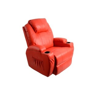 MCombo Red Faux Leather Heated Massage Recliner