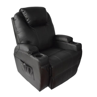 MCombo Black Faux Leather Heated Massage Recliner