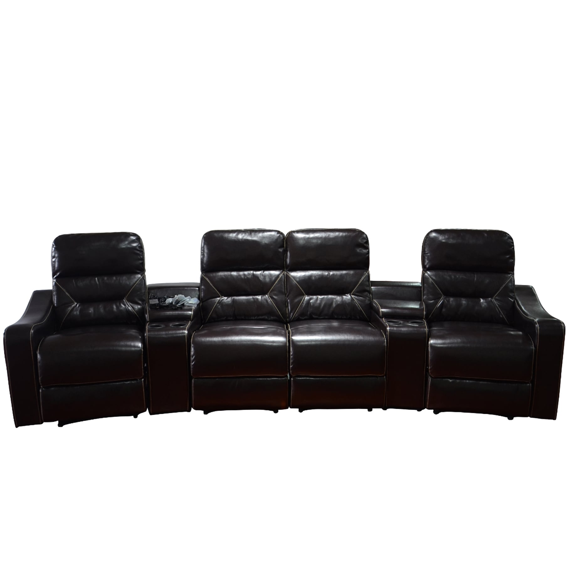 MCombo Faux Leather 4-Seat Home Theater Recliner Sofa (So...