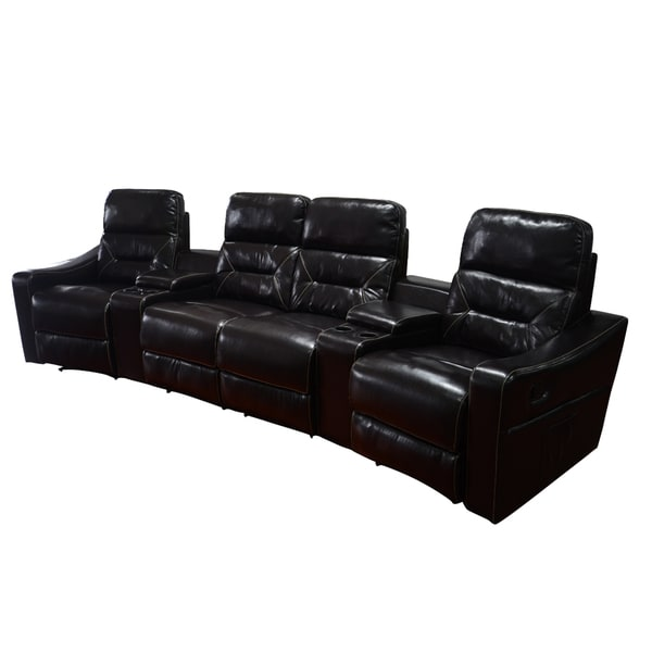 MCombo Faux Leather 4 Seat Home Theater Recliner Sofa   Free Shipping Today    Overstock.com   20983603