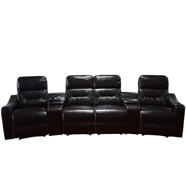 Etonnant MCombo Faux Leather 4 Seat Home Theater Recliner Sofa