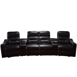 MCombo Faux Leather 4-Seat Home Theater Recliner Sofa